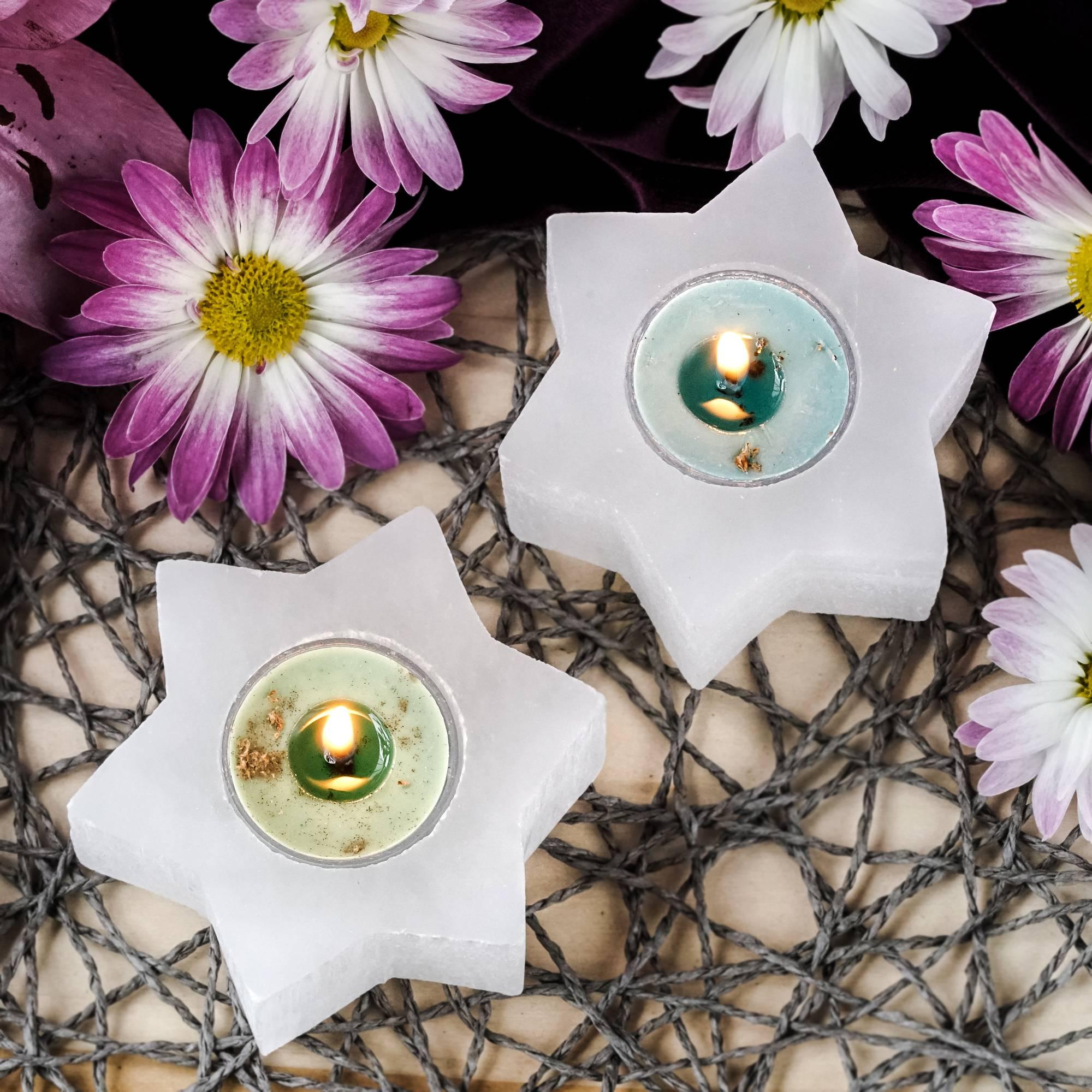 selenite star tea light holders