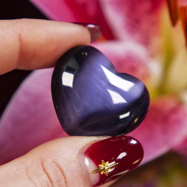 Purple Cats Eye Hearts