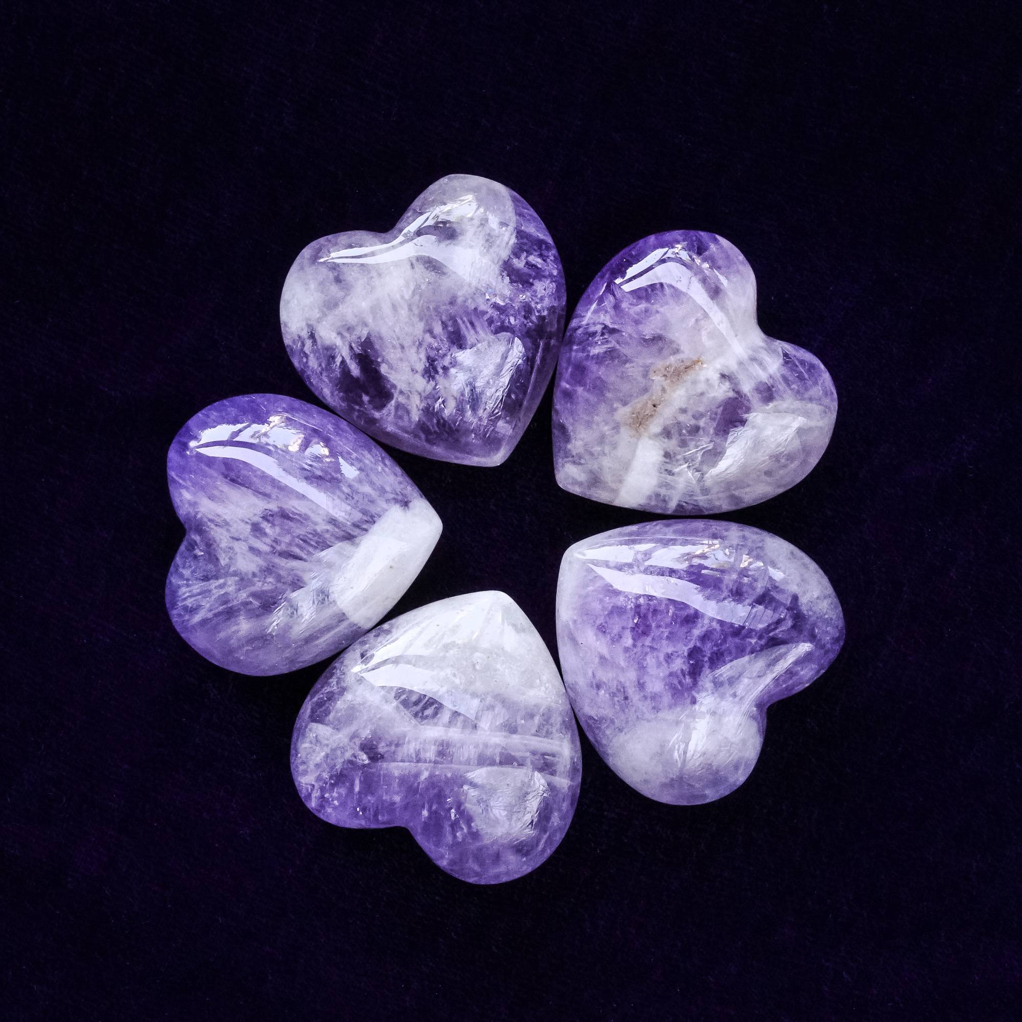 banded amethyst hearts
