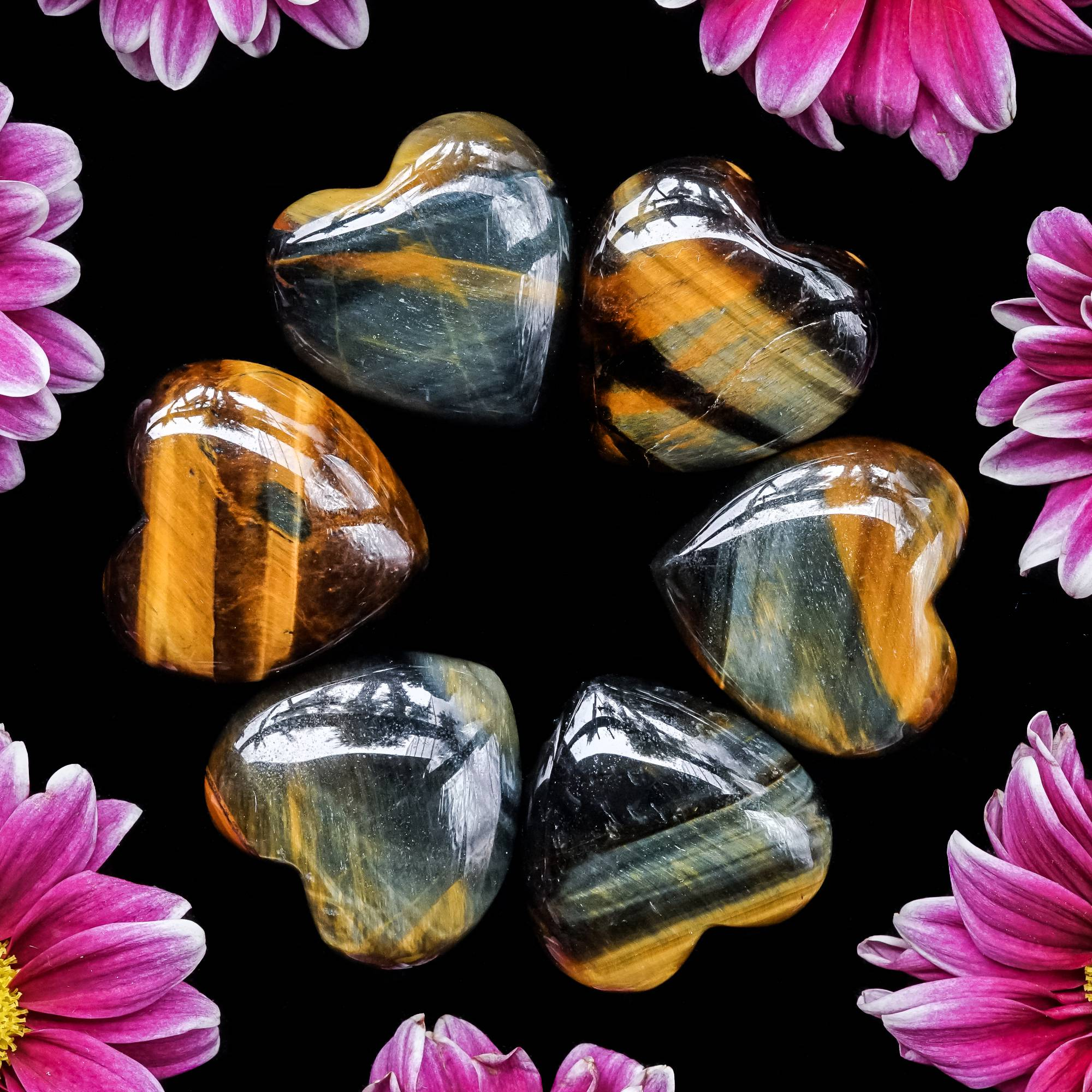 blue and gold tiger's eye hearts