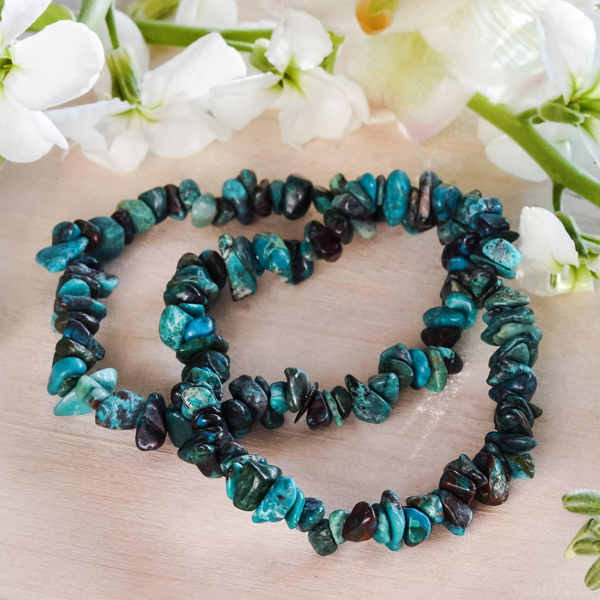 Chrysocolla Chip Stone Bracelets