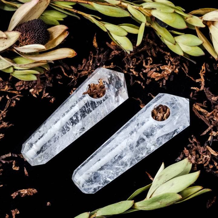 Clear quartz gemstone pipes