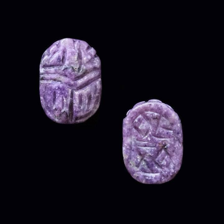 gemmy lepidolite scarabs