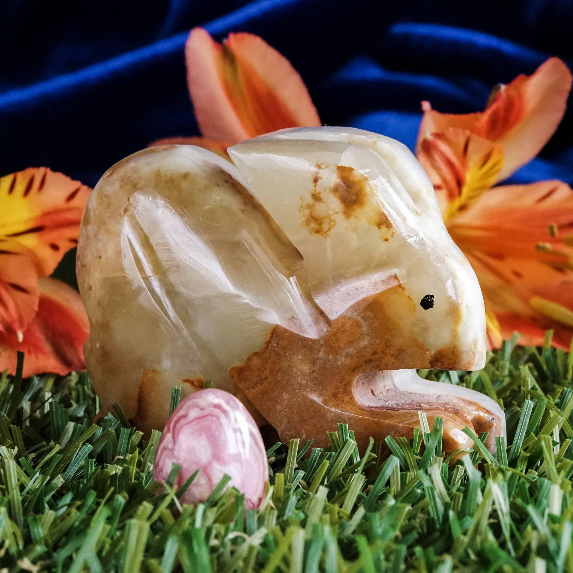 rainbow onyx rabbit with rhodochrosite egg