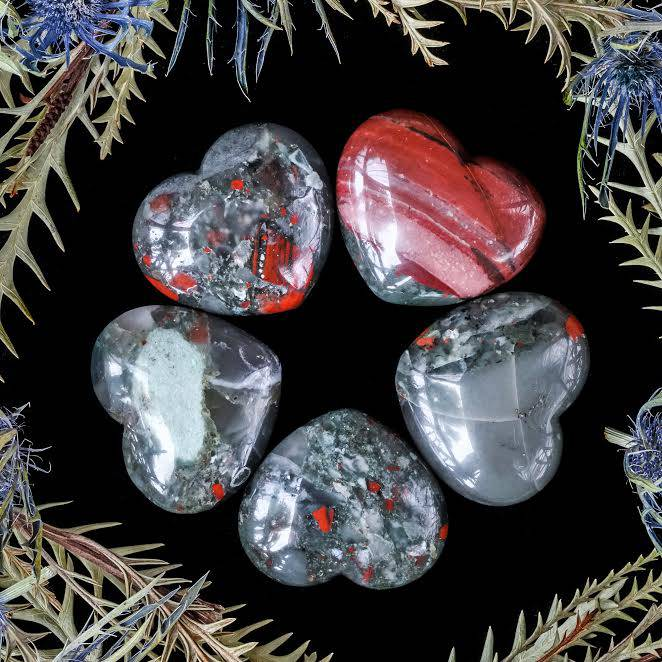 African bloodstone hearts