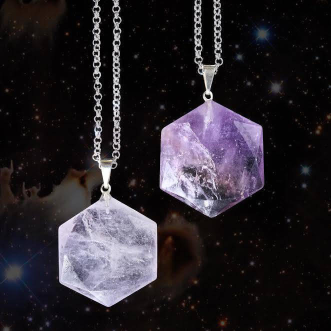 Amethyst Hexagon Pendants for peace and oneness consciousness