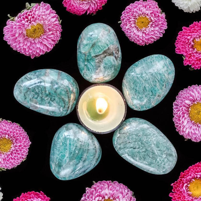 amazonite smoky quartz palmstones