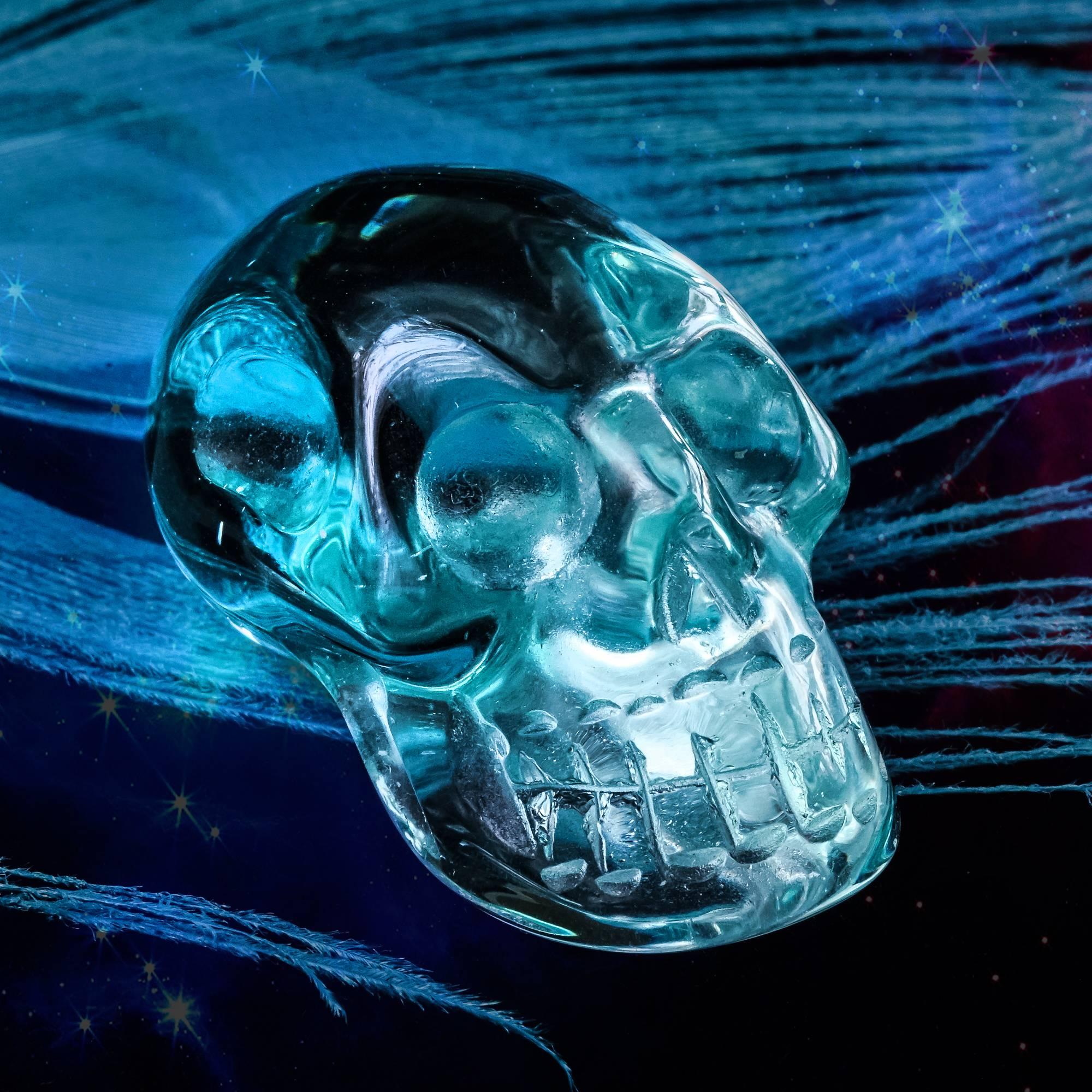 blue obsidian alien skulls