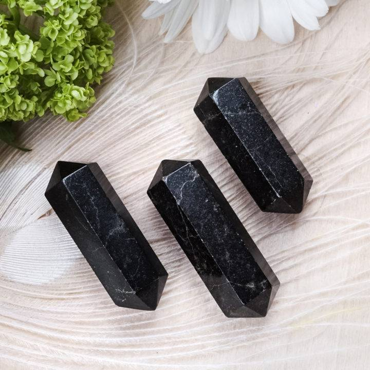 double terminated black tourmaline wands