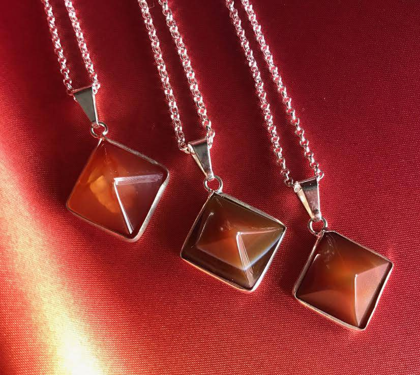 carnelian pyramid pendant
