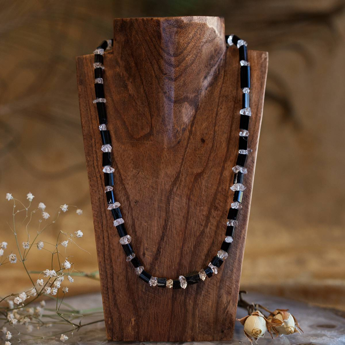 black tourmaline and herkimer diamond necklaces