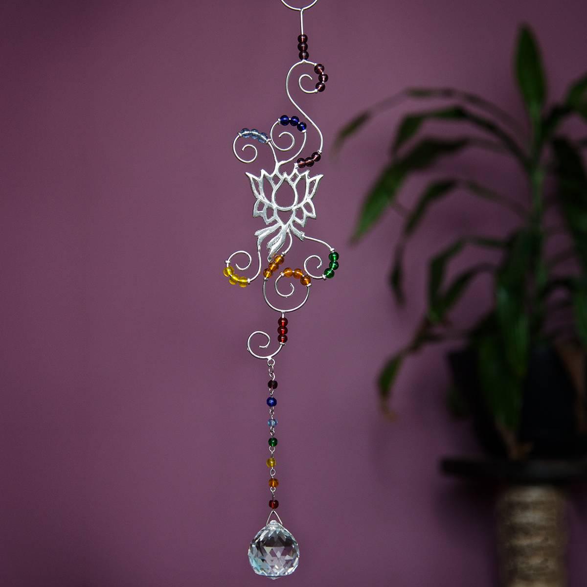 crystal chakra lotus wire hangings