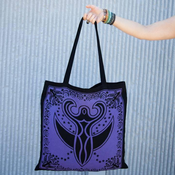 purple goddess moon tote bags