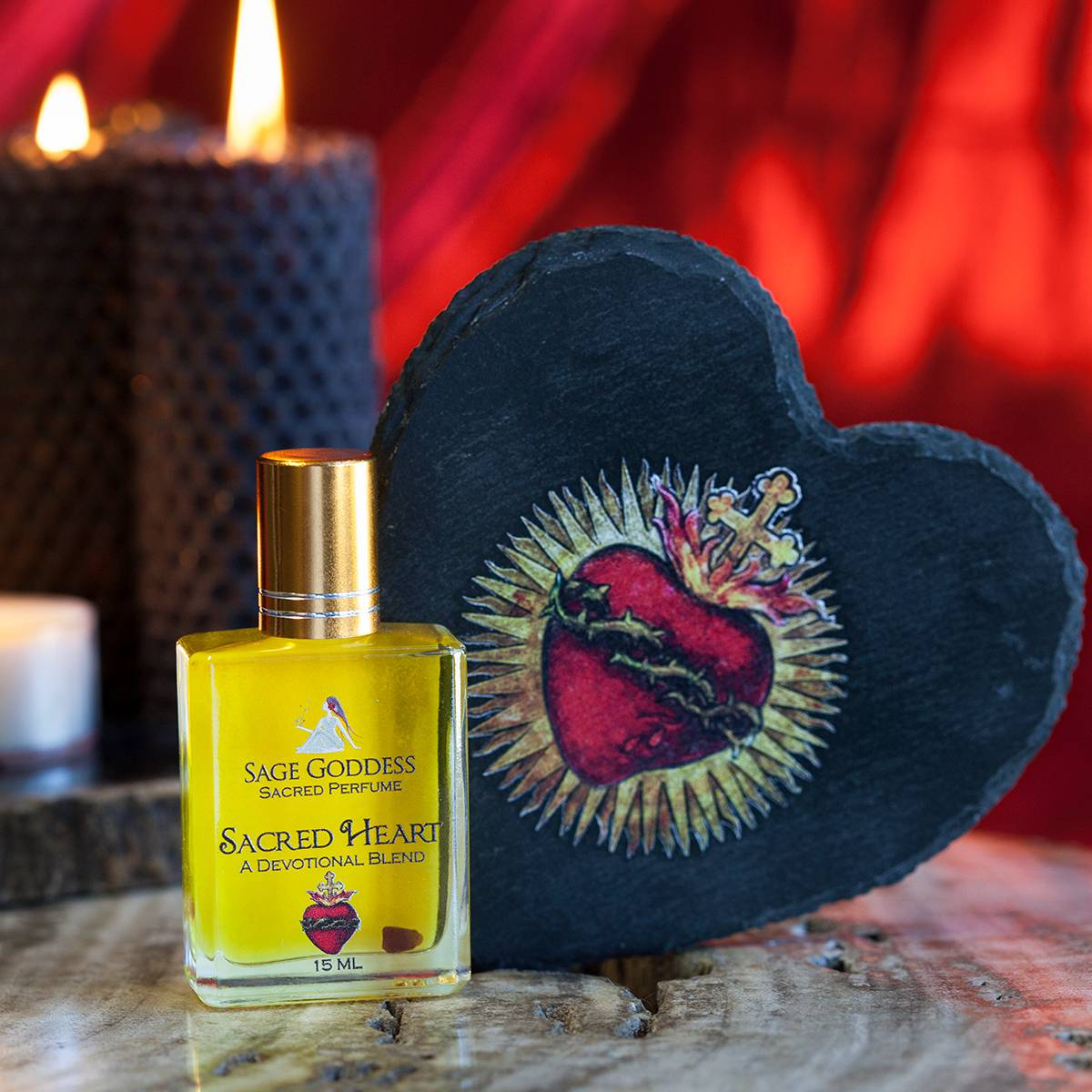 sacred heart slate plate with sacred heart perfume