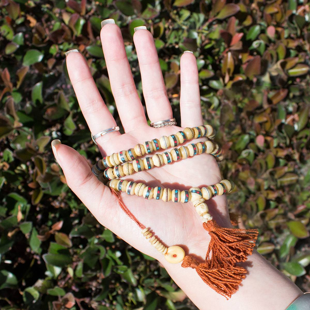 tibetan bone inlaid prayer bead males