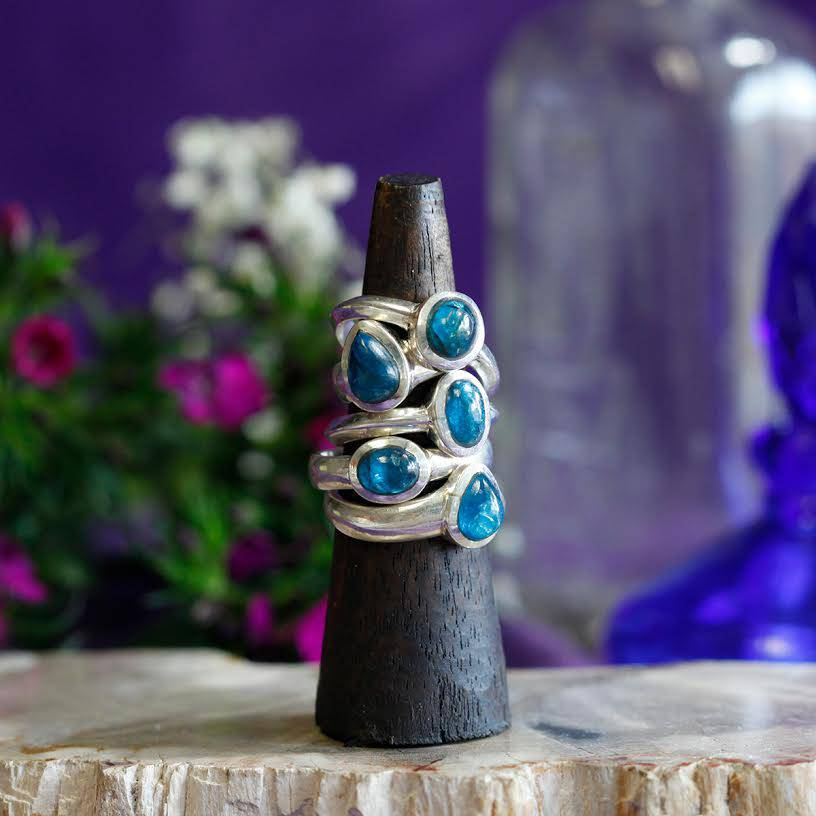 blue apatite rings
