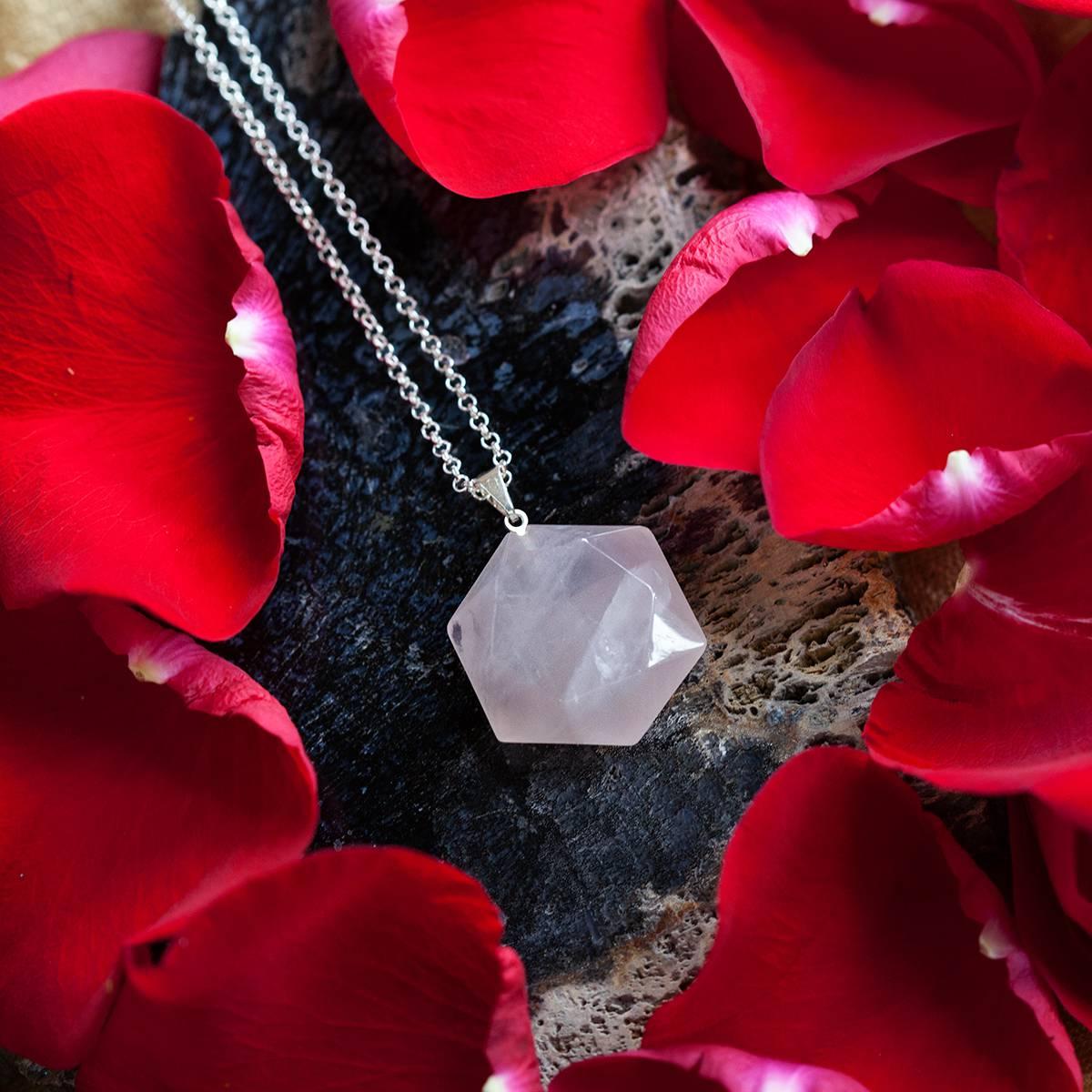 rose quartz hexagon pendants