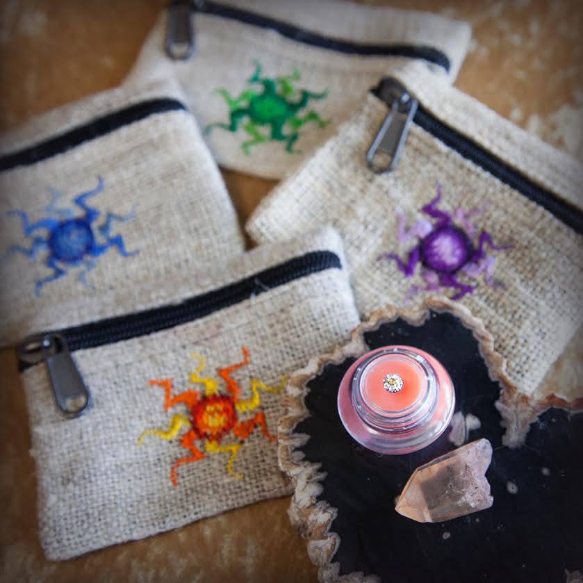 sun hemp coin bag with lip gloss and stone