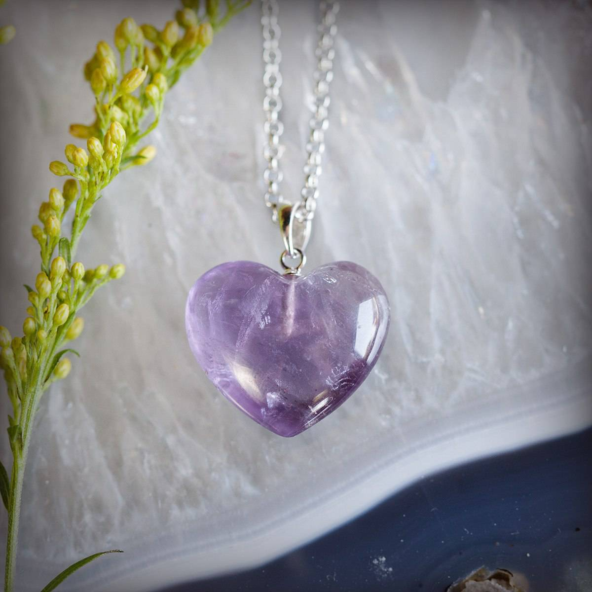 amethyst heart pendants