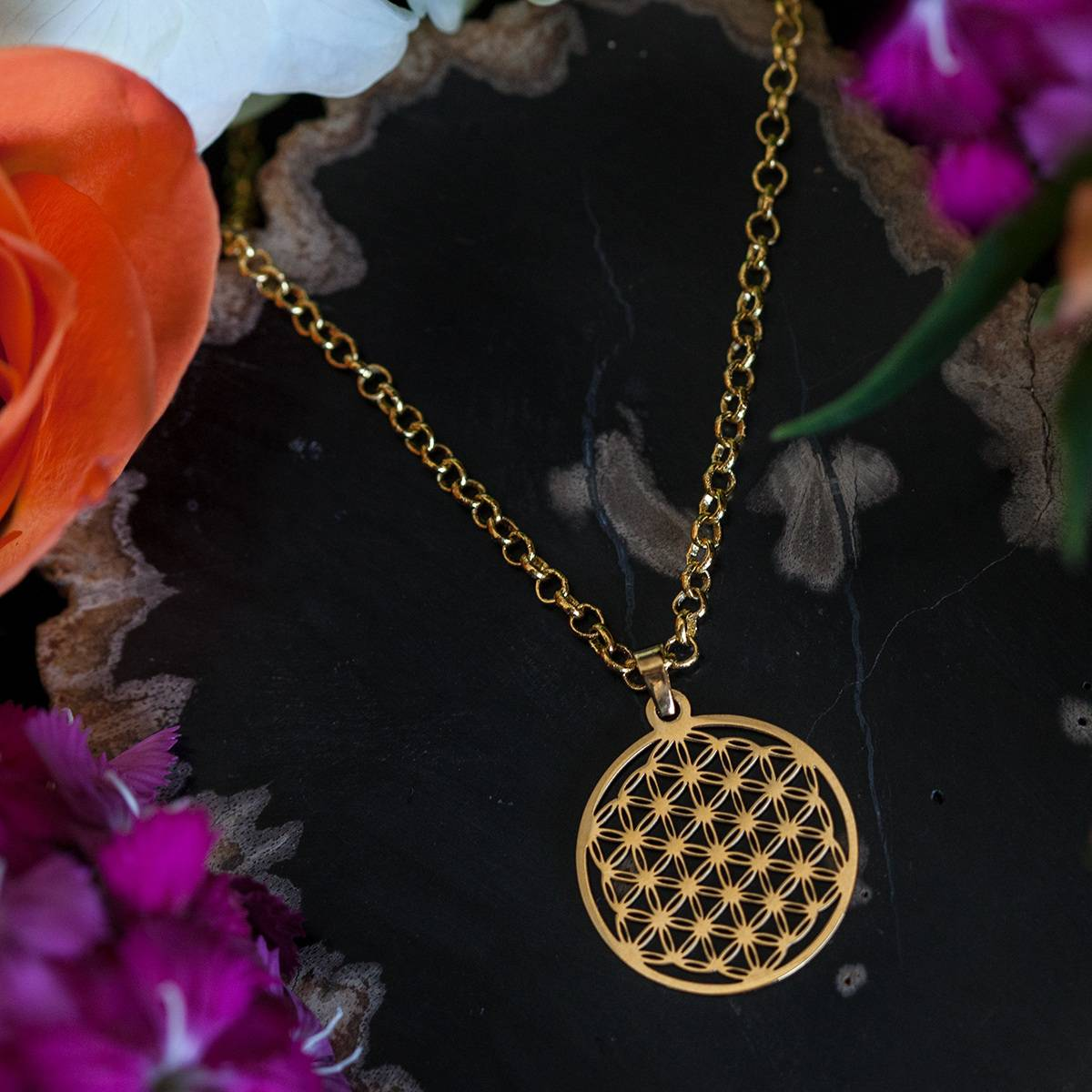 golden flower of life pendants