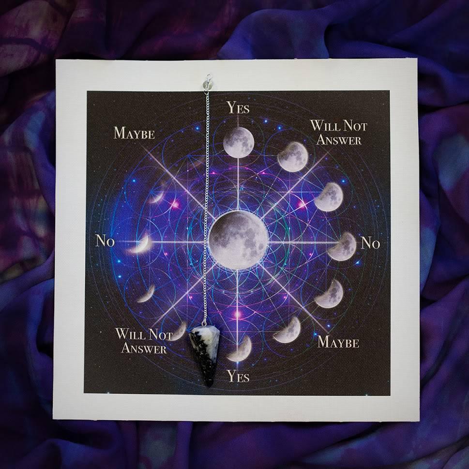 Moon Magic Pendulum Mat with Rainbow Moonstone Pendulum