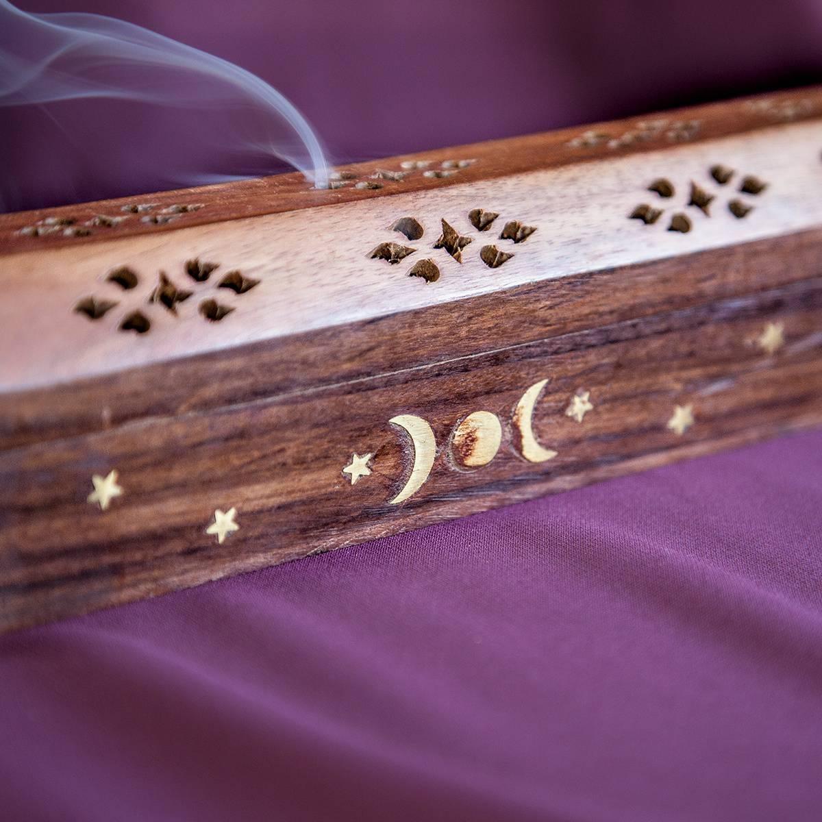 Wooden Moon Incense Burner Box Detail