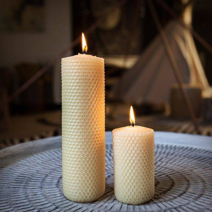 Golden Beeswax Altar Pillar Candle