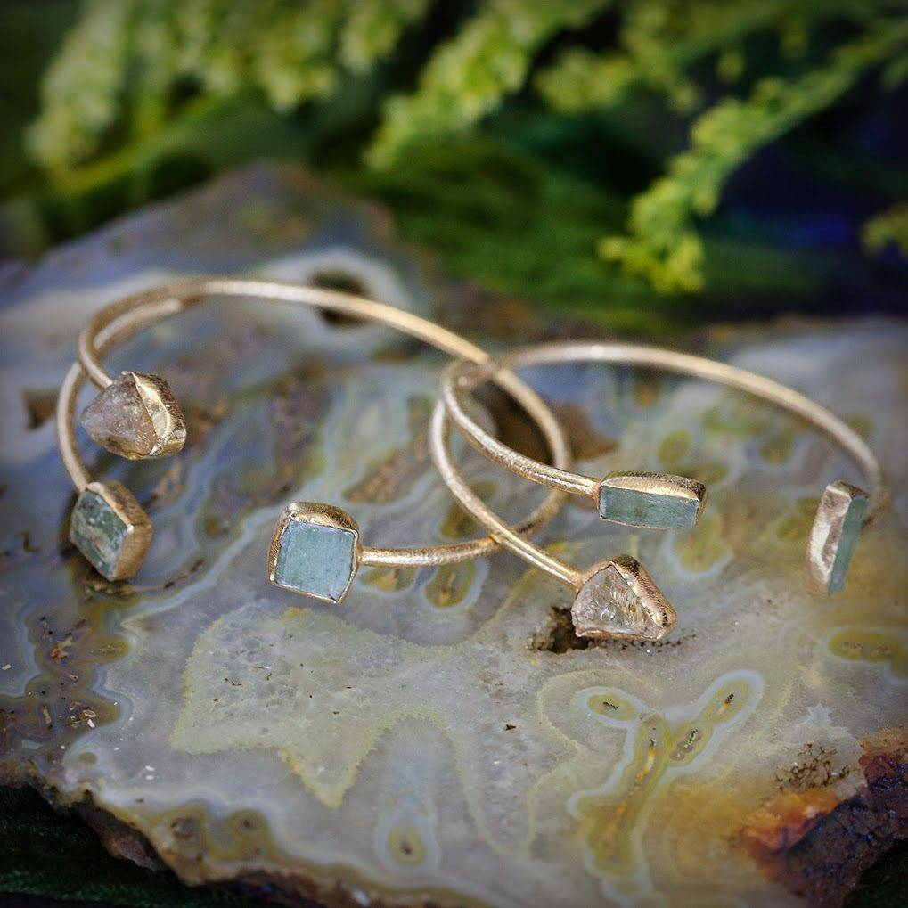 Green Kyanite and Citrine Gold Plated Bangle