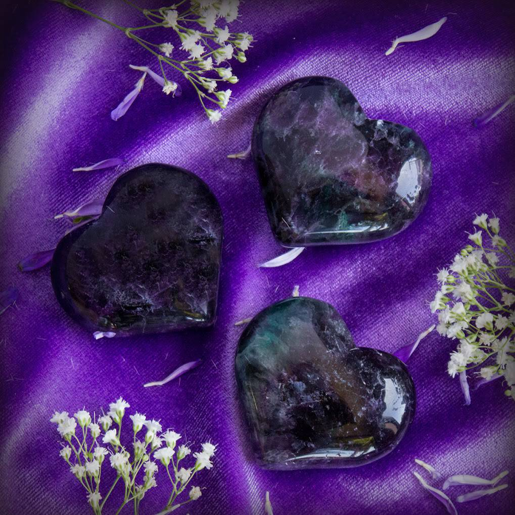 Purple Fluorite Hearts