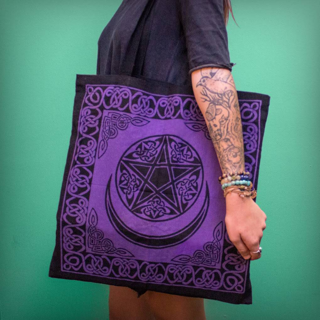 Purple Pentacle with Moon Tote