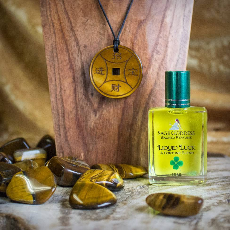 Tigers Eye Healing Power Pendant & Liqiud Luck Perfume