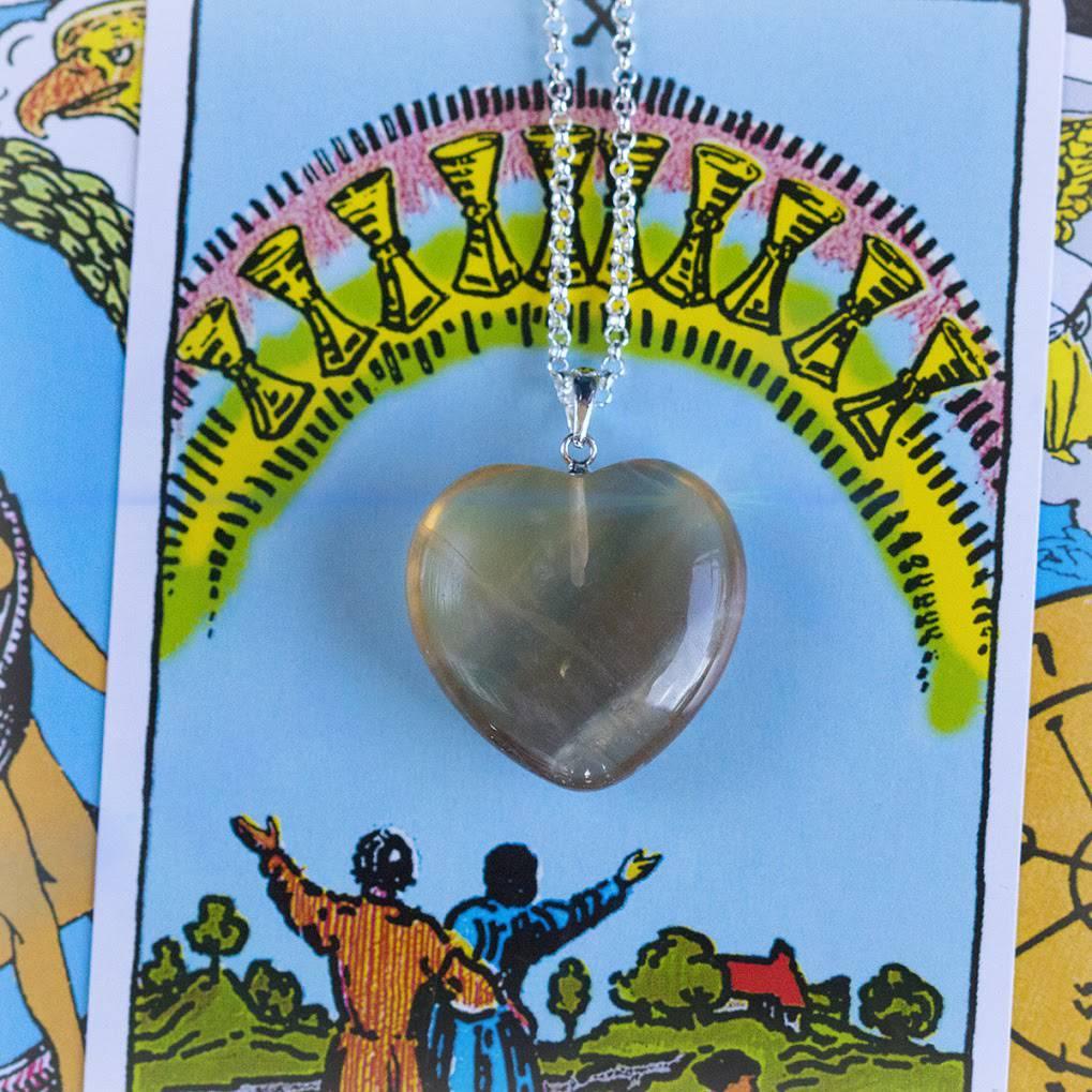 Yellow Fluorite Heart Pendants
