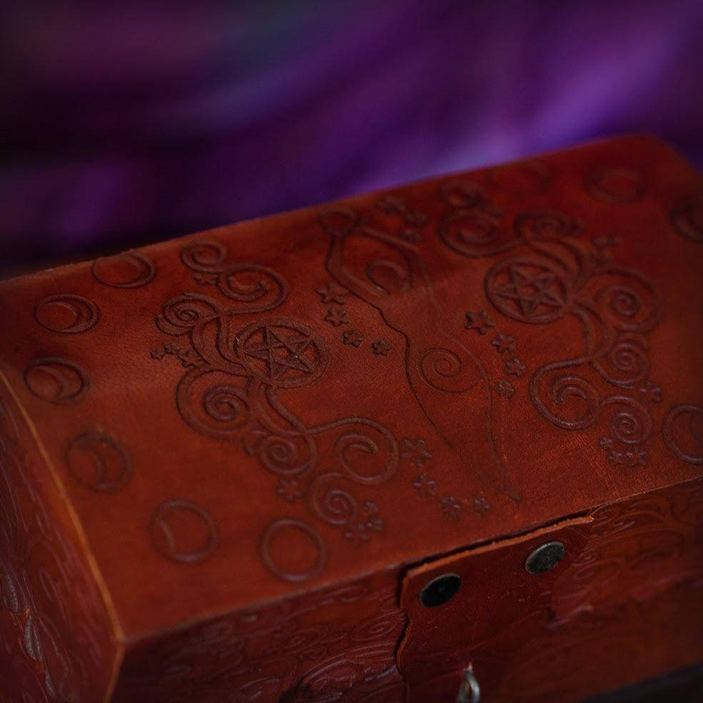 Red Leather Moon Goddess Box