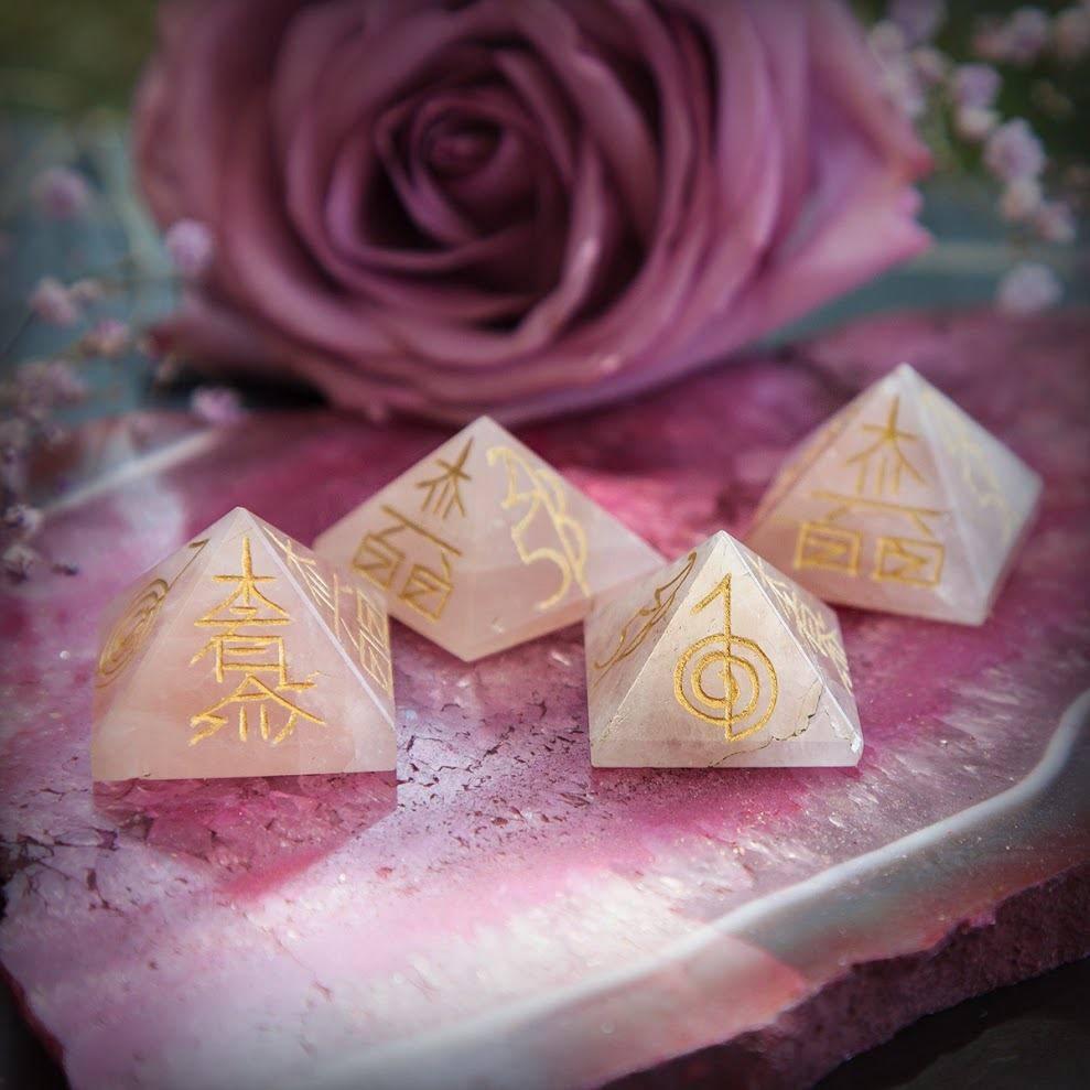 Rose Quartz Reiki Pyramids