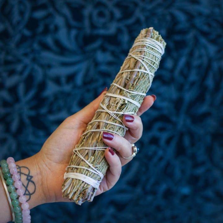 Cedarwood, blue sage and sweetgrass smudge bundles