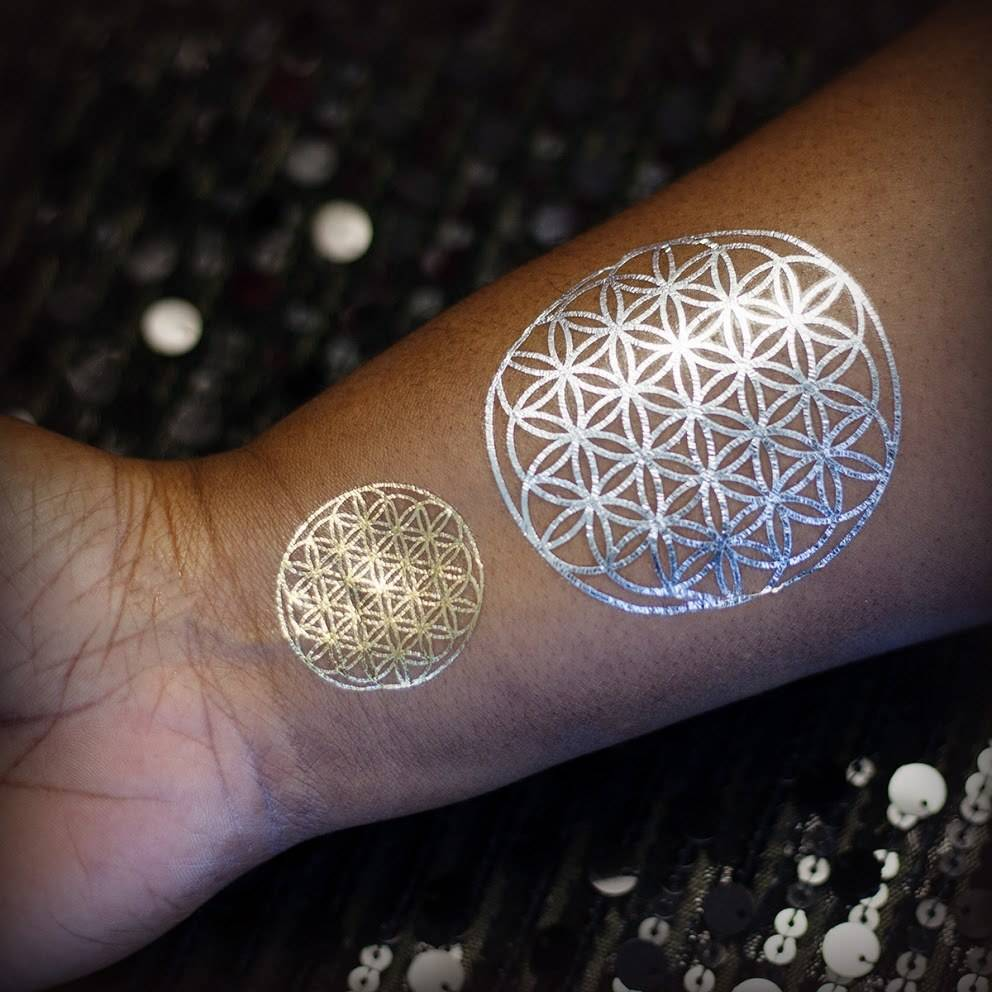 Metallic Flower of life Tattoo