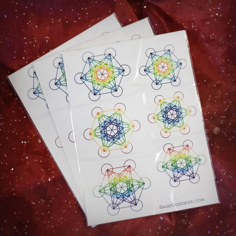 Rainbow Metatrons Cube Tattoo