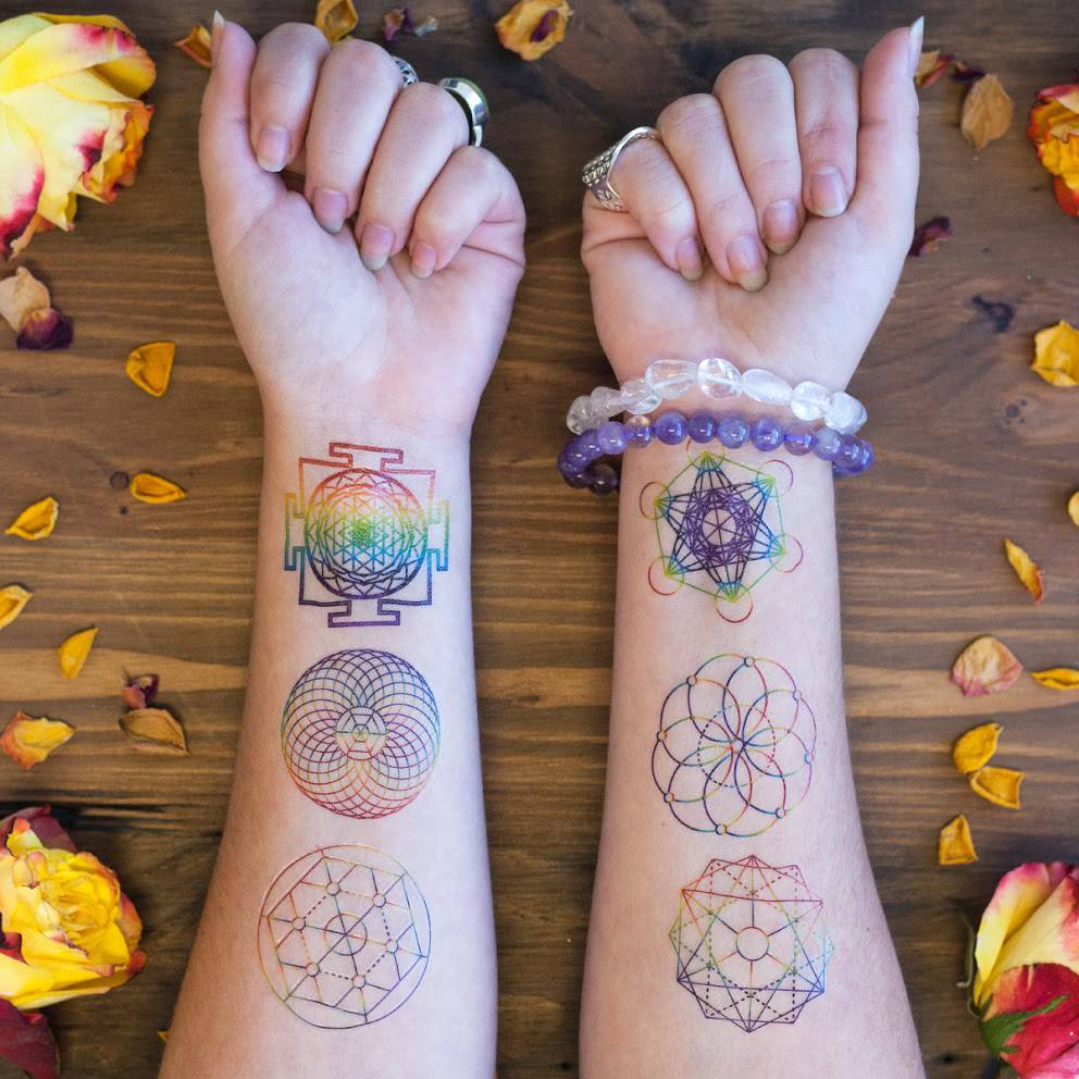 Rainbow Sacred Geometry Tattoo