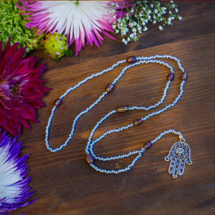 Beaded Hamsa Hand Necklace