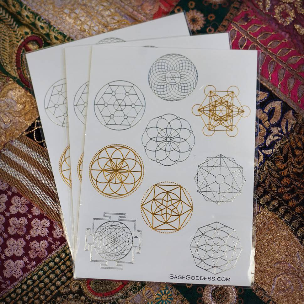 SG Custom Metallic Sacred Geometry Flash Tattoos for evoking the DNA of the  Universe