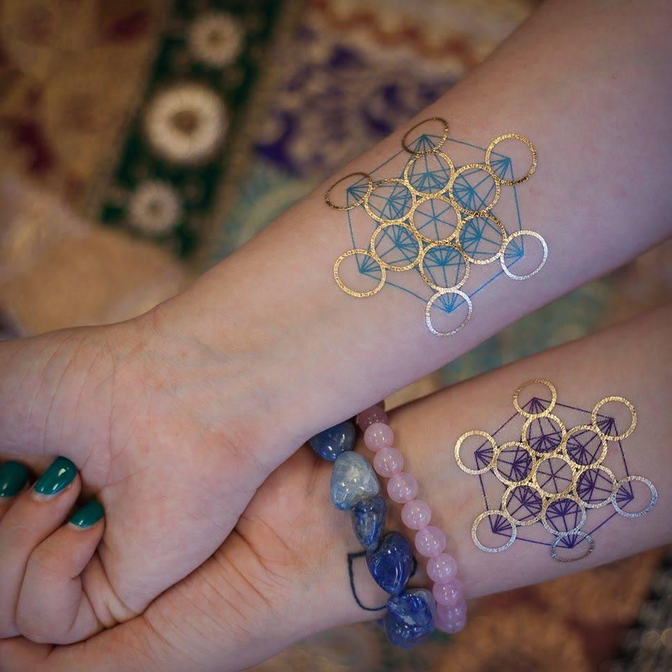 Metallic and Rainbow Metatrons Cube Tattoo