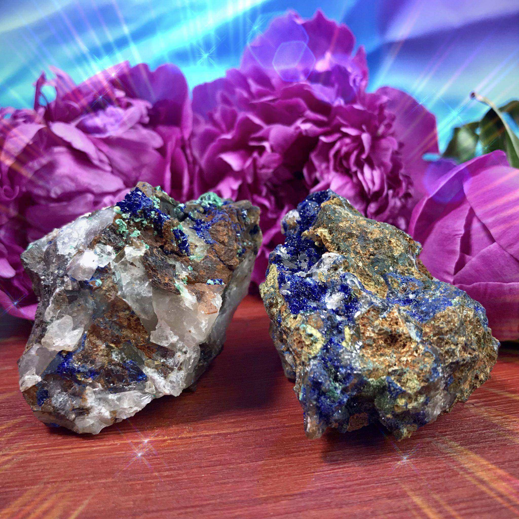 Natural azurite with malachite for Divine Feminine magic