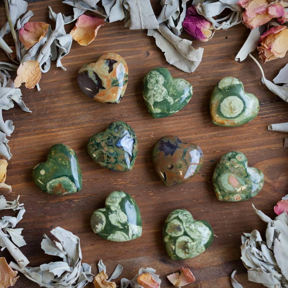 Rhyolite Wishing Hearts Anointed with Desidera