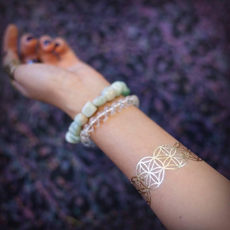 Sacred Symbols Metallic Bracelet Tattoo