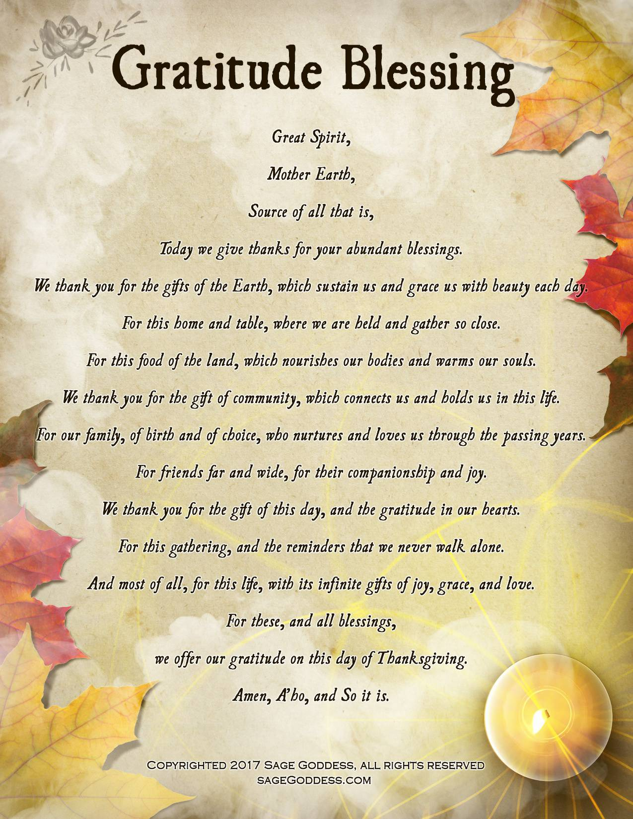 My Invocation of Thankfulness and Gratitude