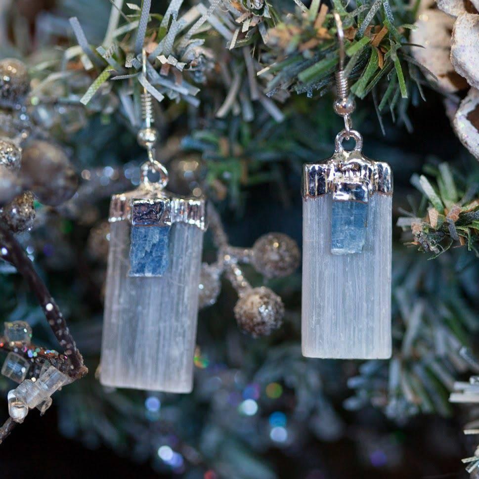 Selenite with Blue Kyanite Earrings