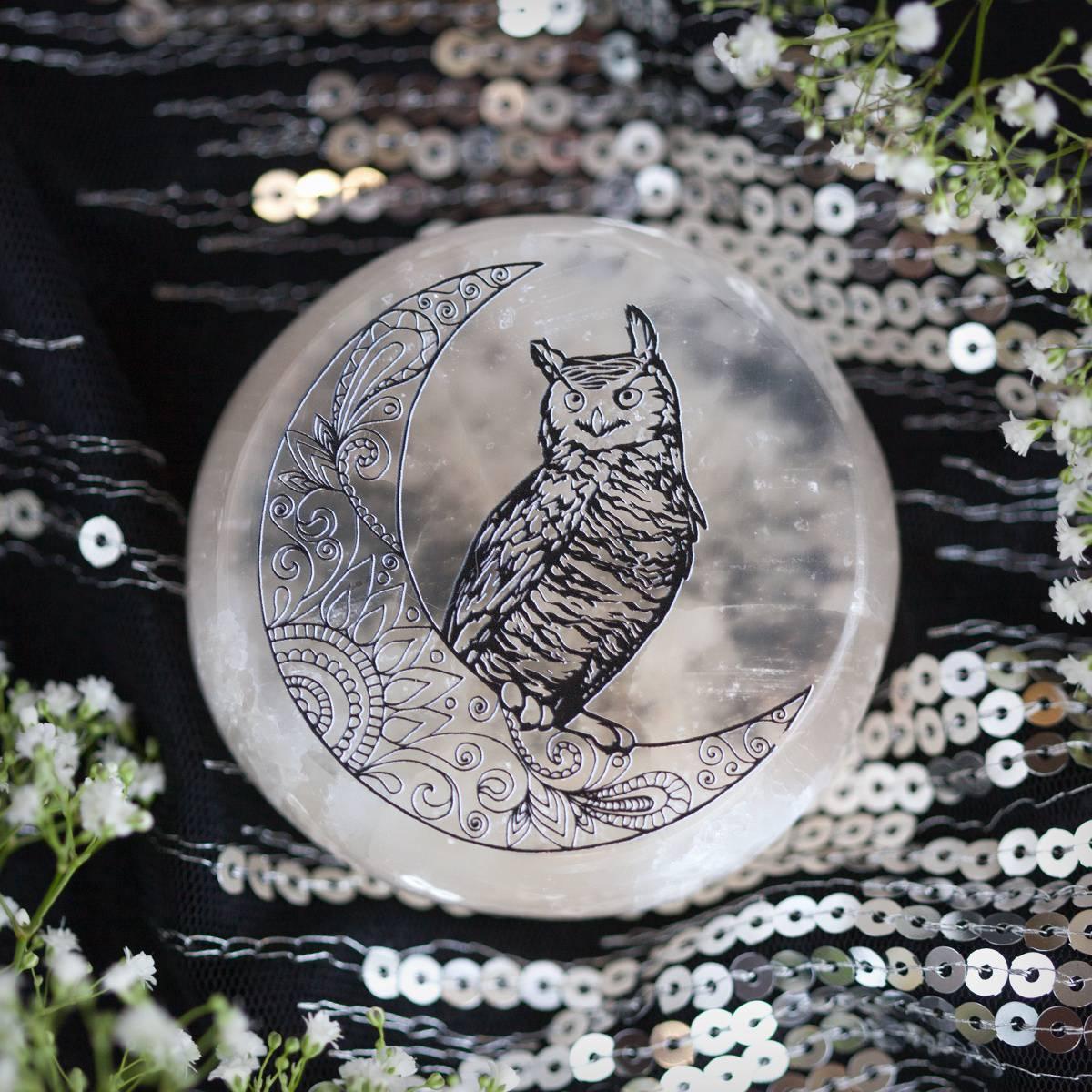 Owl Printed Selenite Puck 1_2