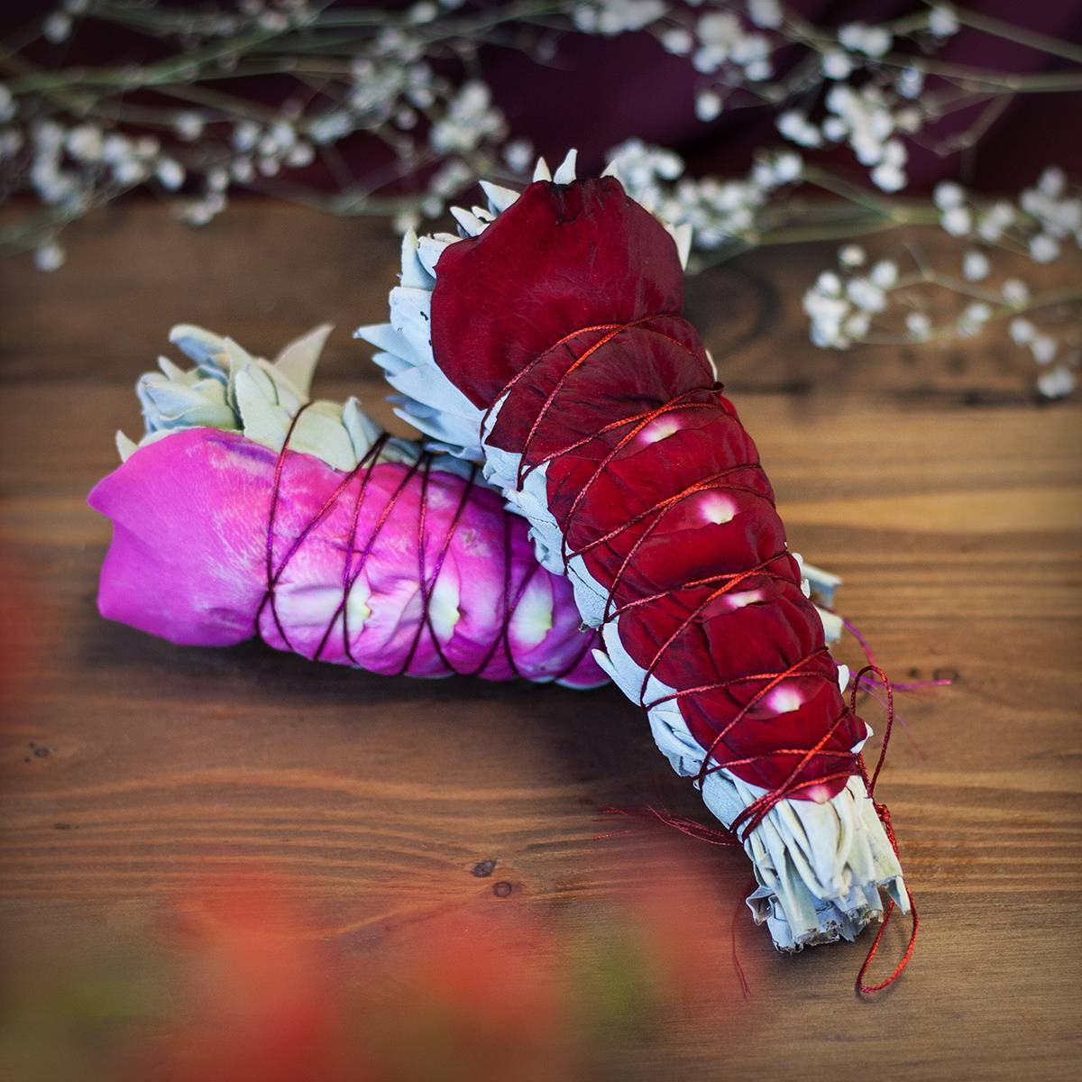Rose Petal Smudge Bundles for purification, positivity, and calling in  Divine Love