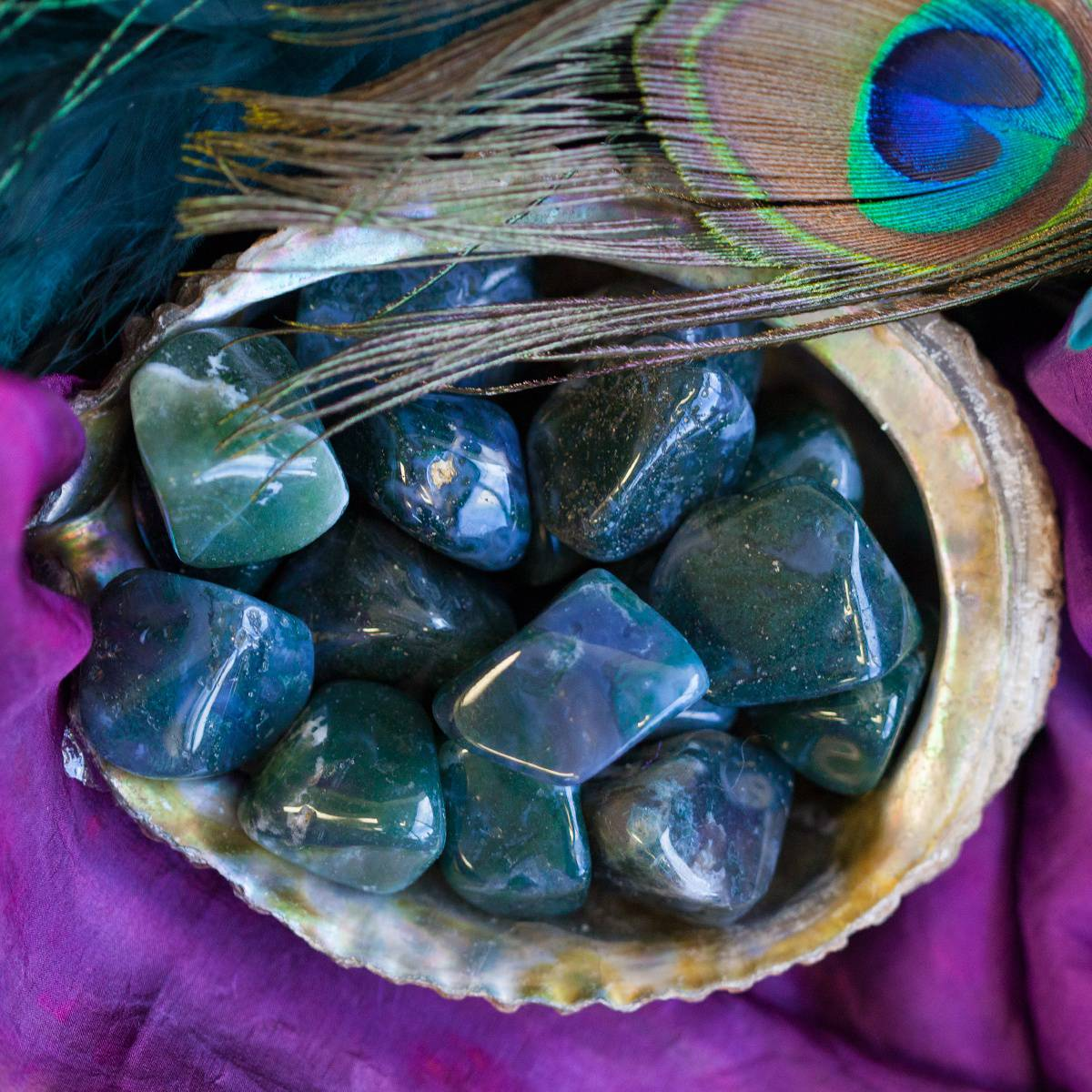 Tumbled Moss Agate for healing, nurturing, and grounding energy