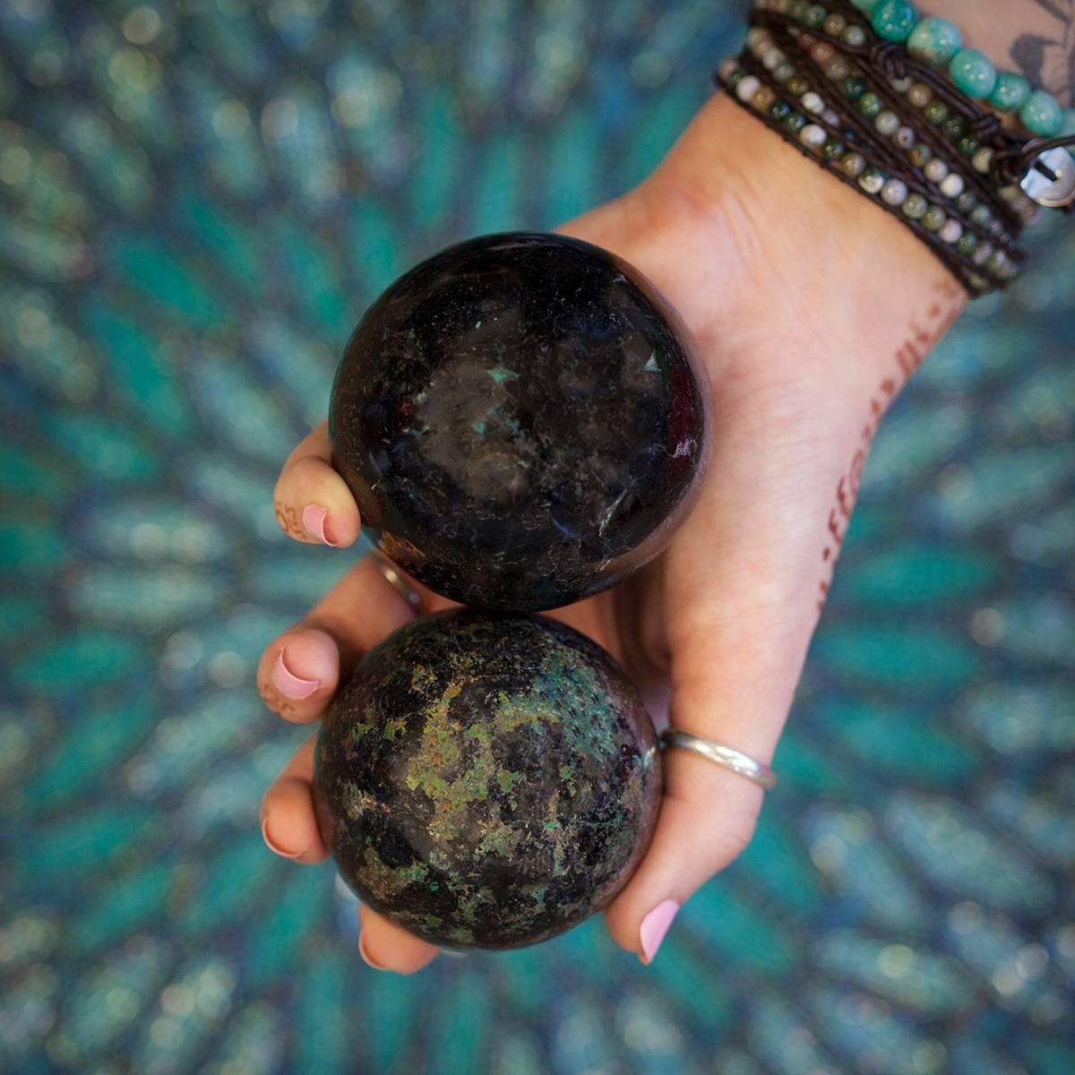 Black Tourmaline and Chrysocolla Spheres DD 2_20